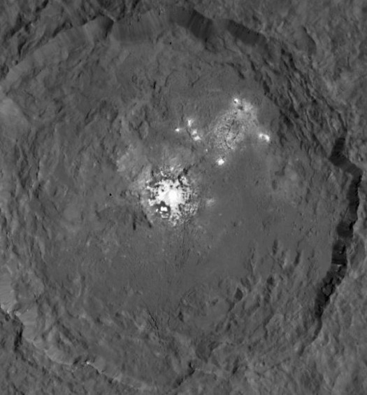 Bright spots on Ceres photographed by NASA's Dawn Spacecraft